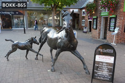 Outdoor Life Size Antique Bonze Horse Statue Mare and Foal Sculpture for Sale BOKK-865