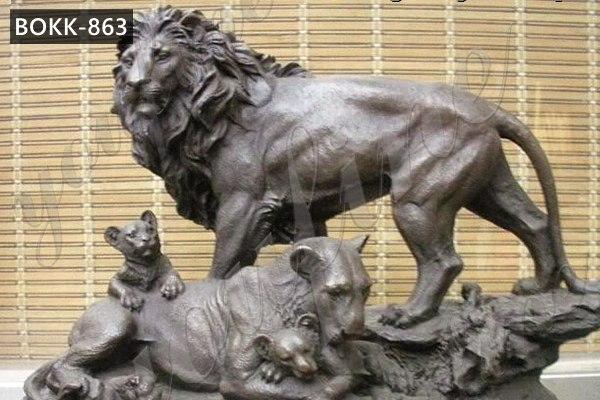 Bronze Lion Family Sculpture Wildlife Animals Sculpture Figurine for Garden Decor Supplier BOKK-863