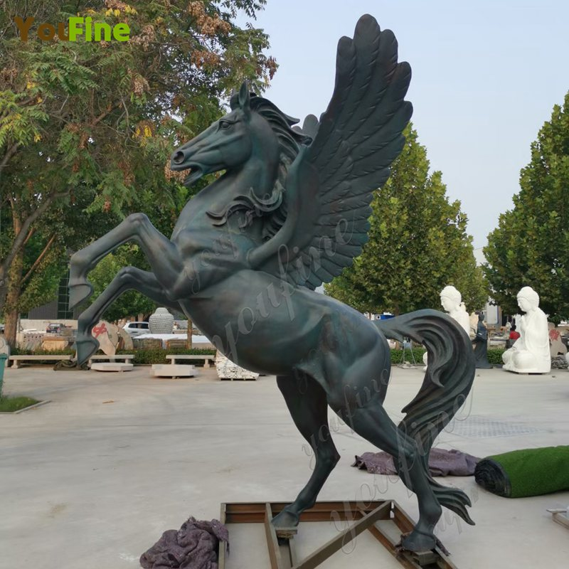 Large Bronze Winged Horse Sculptures Completion Photos for Our Guests