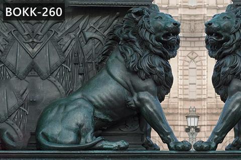 Large Antique Bronze Lion Statue Wildlife Metal Garden Sculpture for Sale BOKK-260