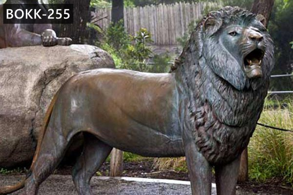 Life Size Antique Bronze Roaring Lion Statue Wildlife Animals Garden Sculpture for Sale BOKK-255