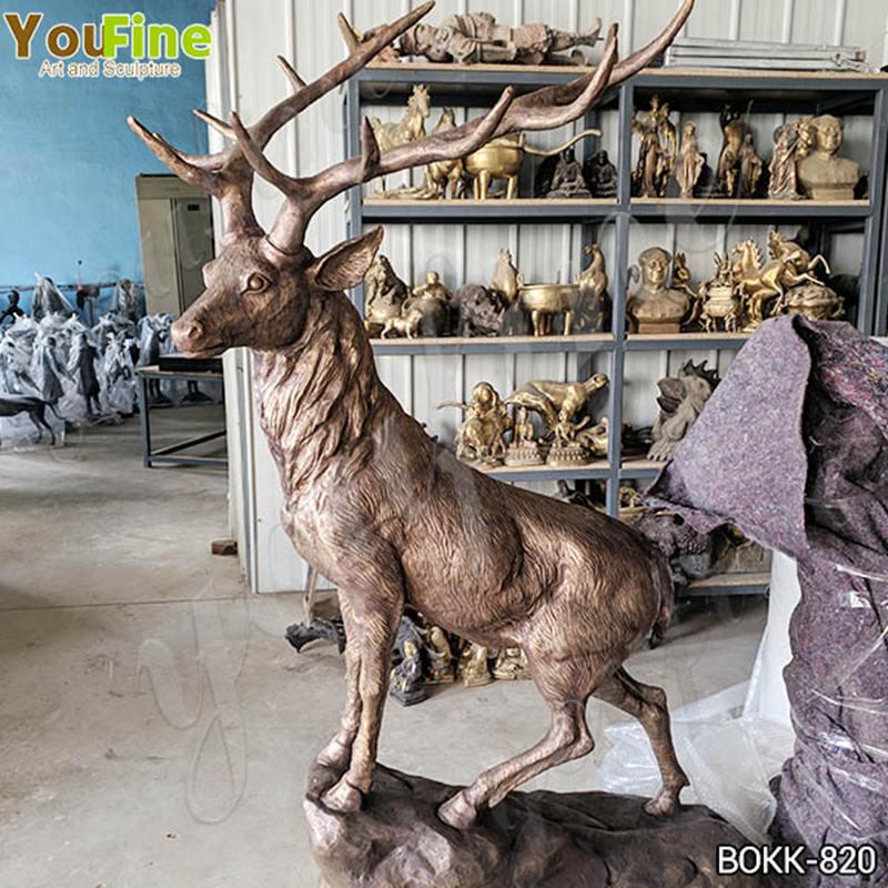 Life Size Bronze Elk Sculpture Garden Decorative Animals Sculpture for Sale BOKK-820