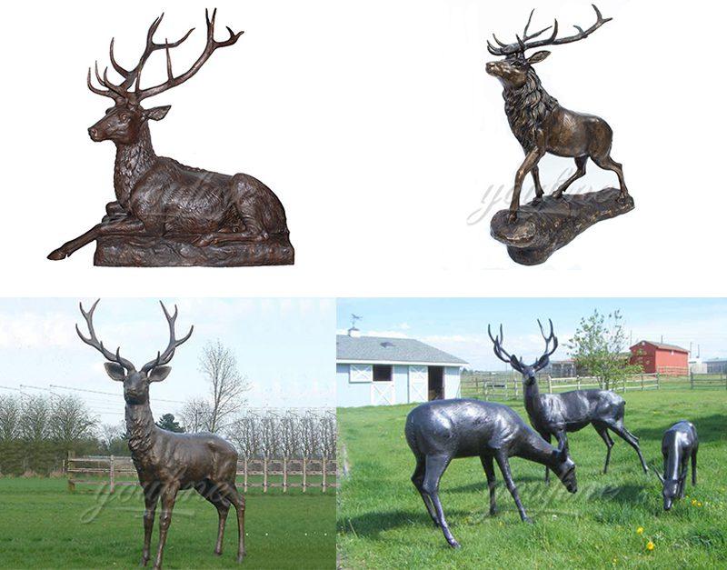 Life Size Bronze Whitetail Deer Statue Garden Animals Sculpture for Sale Other Designs