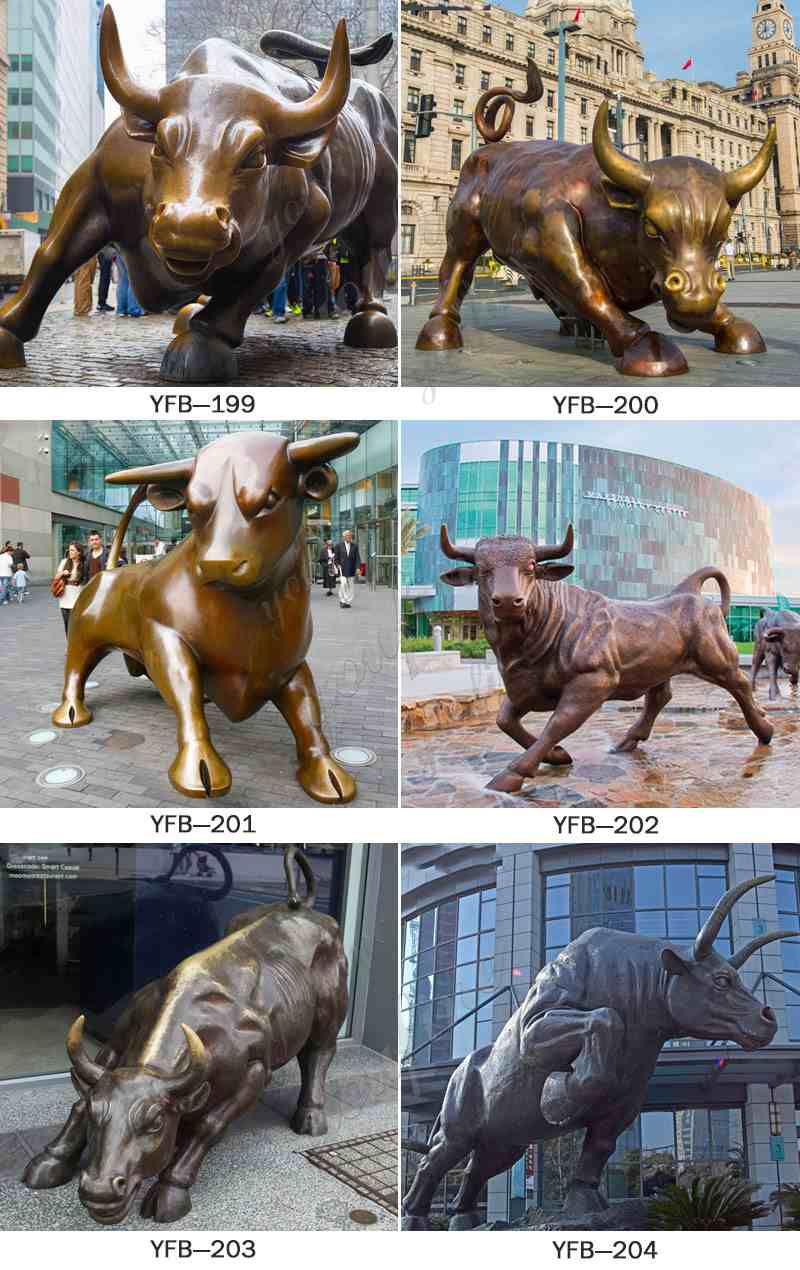 Outdoor Large Bronze Wall Street Bull Statue for Sale More Designs