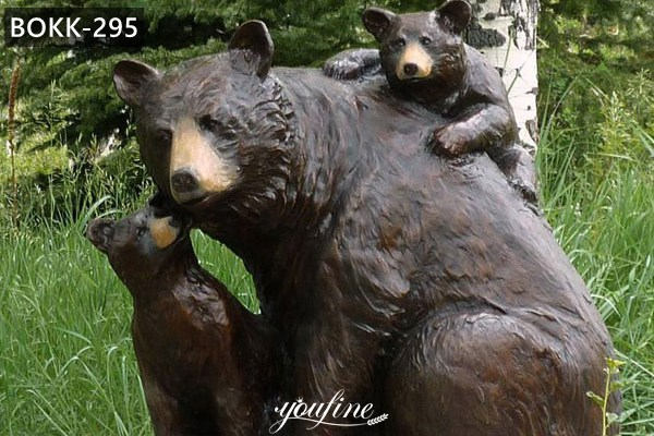 Outdoor Life Size Bear Family with Cubs Bronze Sculpture for Sale BOKK-295