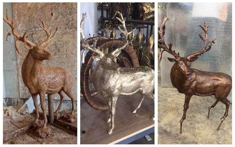 Outdoor Life Size Metal Craft Bronze Garden Animal Elk Sculpture