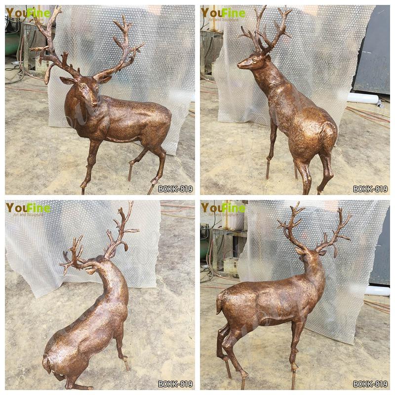 Outdoor Life Size Metal Craft Bronze Garden Animal Elk Sculpture for Sale BOKK-819 Details