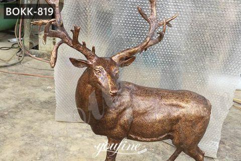 Outdoor Life Size Metal Craft Bronze Garden Animal Elk Sculpture for Sale BOKK-819