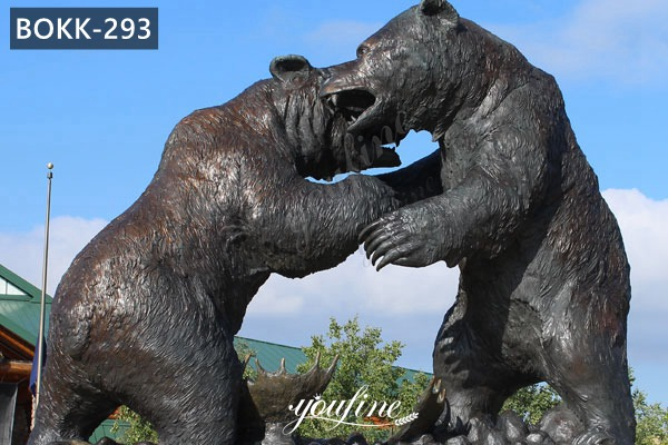 Pair of Life Size Outdoor Bronze Bear Garden Statues Lawn Ornaments for Sale BOKK-293