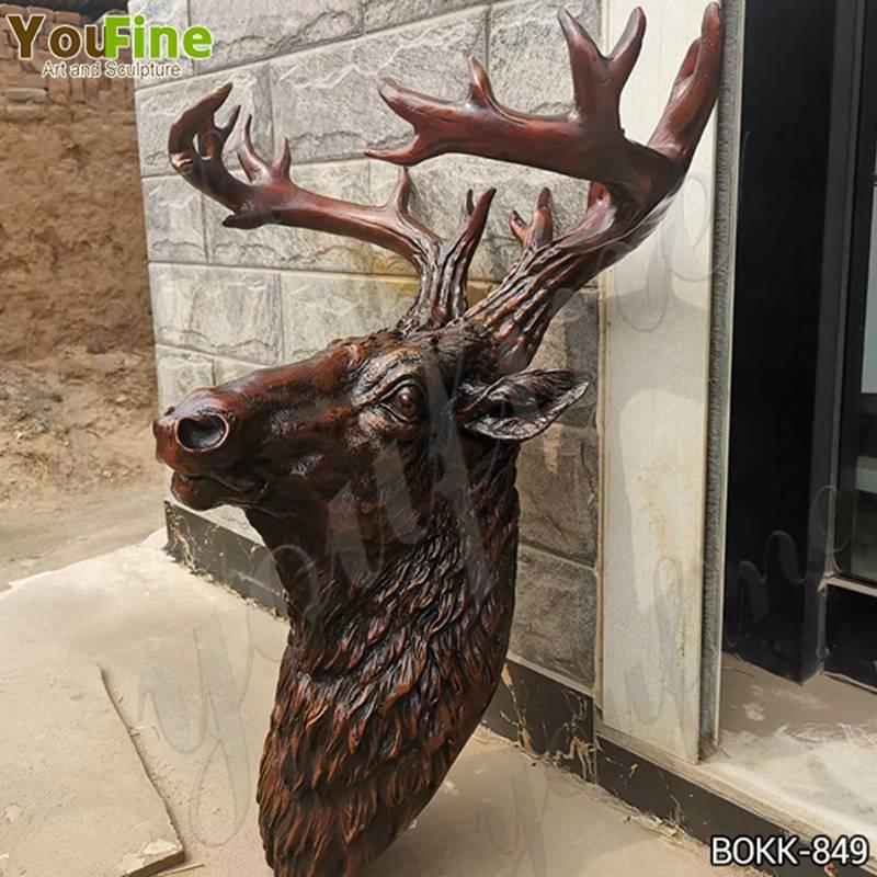 Large Bronze Deer Head Statue Metal Wall Decor for Sale BOKK-849 Details