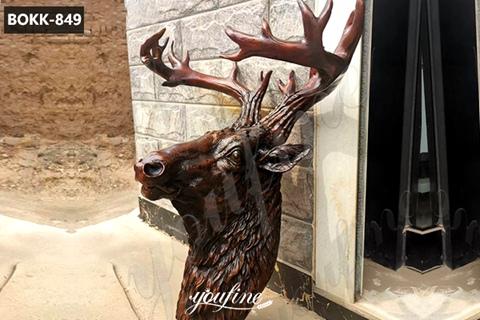 Large Bronze Deer Head Statue Metal Wall Decor for Sale BOKK-849