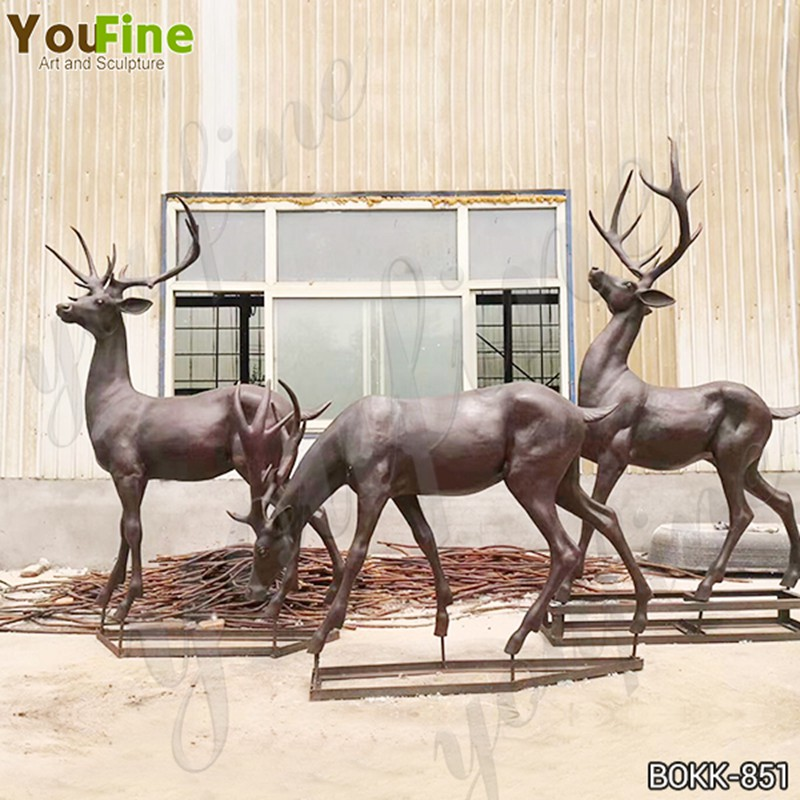 Life Size Bronze Deer Family Statue Animals Sculpture Home Decor for Sale BOKK-851 Details