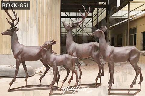 Life Size Bronze Deer Family Statue Animals Sculpture Home Decor for Sale BOKK-851