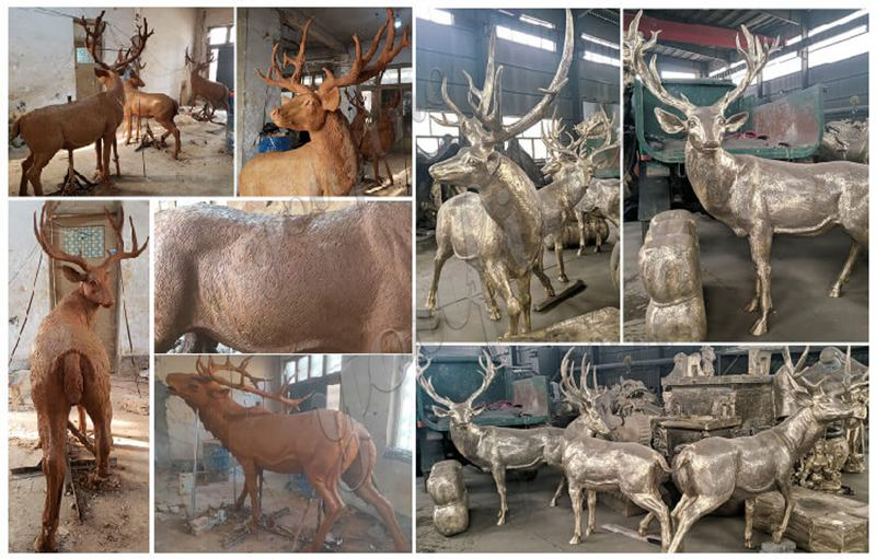 Life Size Bronze Deer Family Statue Animals Sculpture Home Decor for Sale Clay Molds