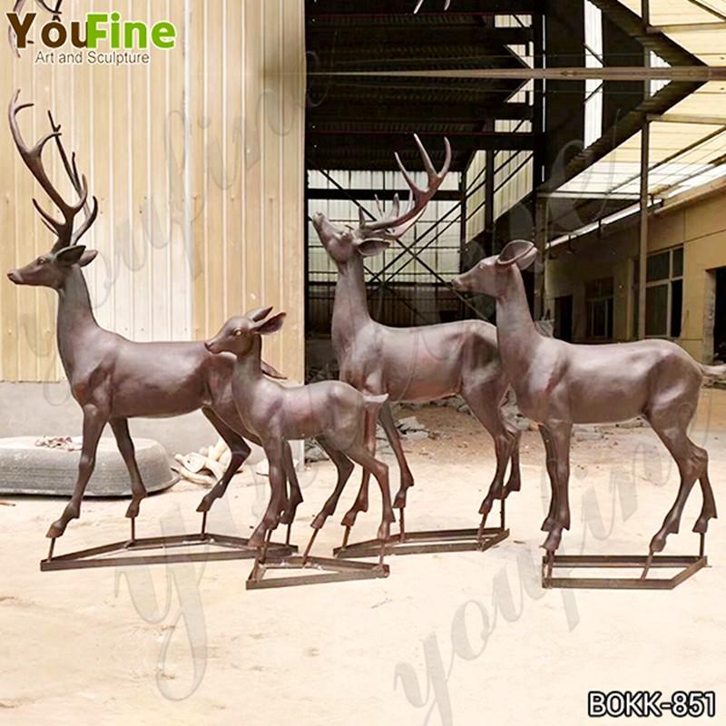 Life Size Bronze Deer Family Statue Animals Sculpture Home Decor for Sale Details