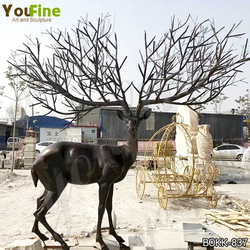 Outdoor Bronze Life Size Elk Statues Animals Garden Sculpture for Sale BOKK-837 Details