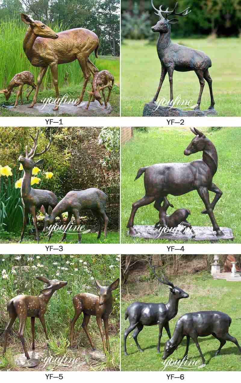Outdoor Bronze Life Size Elk Statues Animals Garden Sculpture for Sale BOKK-837 More Designs