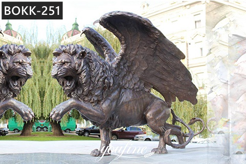 Outdoor Life Size Antique Bronze Flying Lion Statue Animal Sculpture for Front Gate BOKK-251
