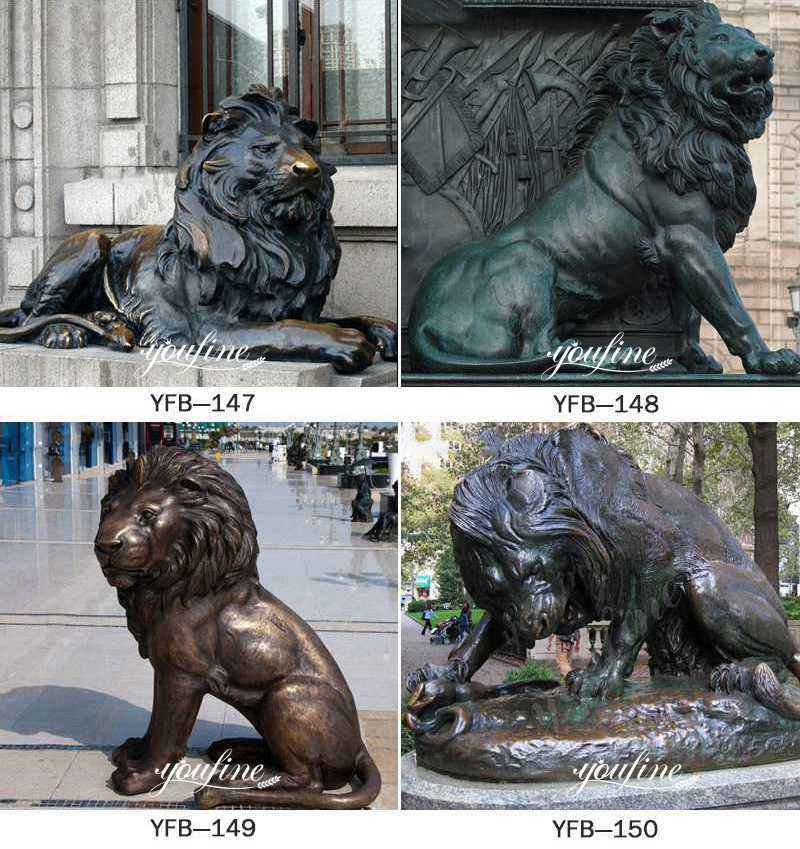 Outdoor Life Size Antique Bronze Flying Lion Statue Animal Sculpture for Front Gate More Designs