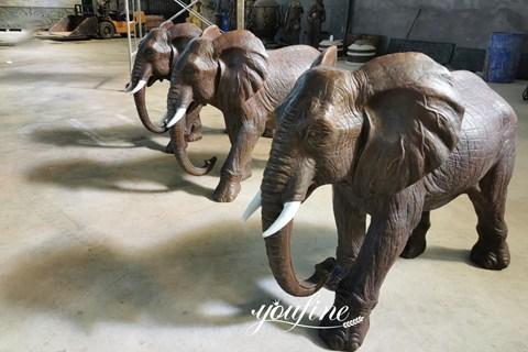 Large Antique Bronze Elephant Statue Garden Animals Sculpture Wholesale ASF-04