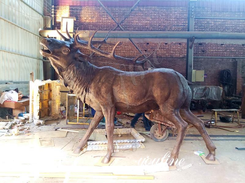 Large Bronze Elk Statue Animal Yard Art for Sale ASF-07