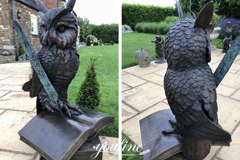 Large Bronze Owl on Books Quill Statue Campus Decorations for Sale BOKK-887