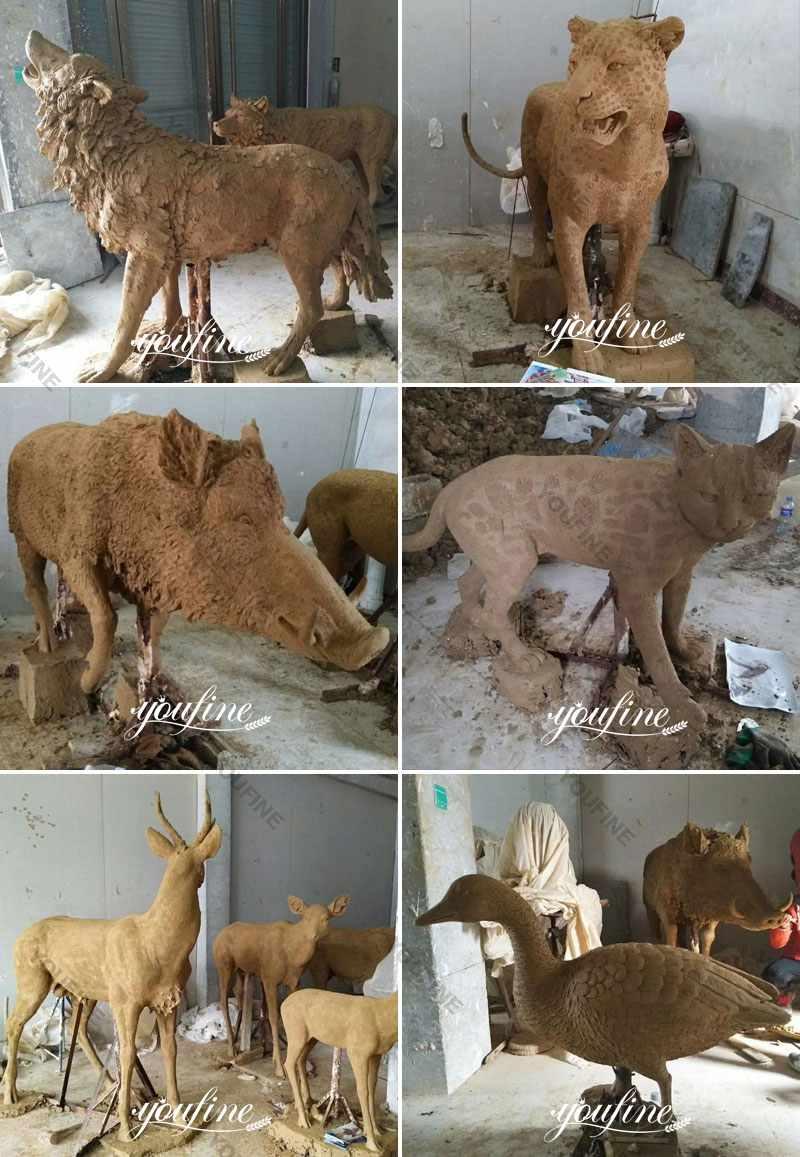 Life Size Antique Bronze Deer Garden Statue for Sale Clay Molds
