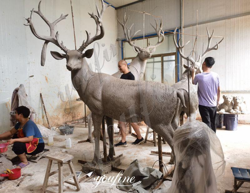 Life Size Antique Bronze Deer Garden Statue for Sale Talented Masters