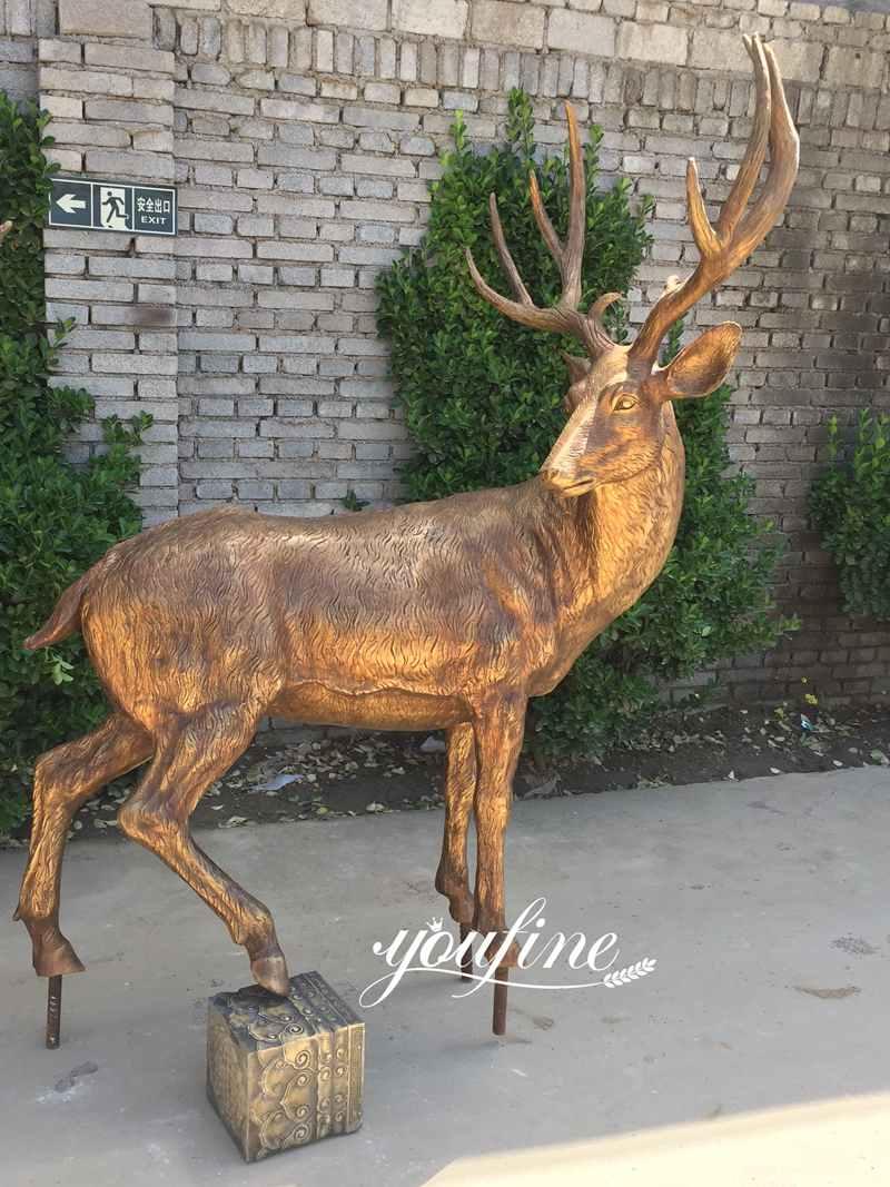 Outdoor Life Size Bronze Deer Garden Statue for Sale-