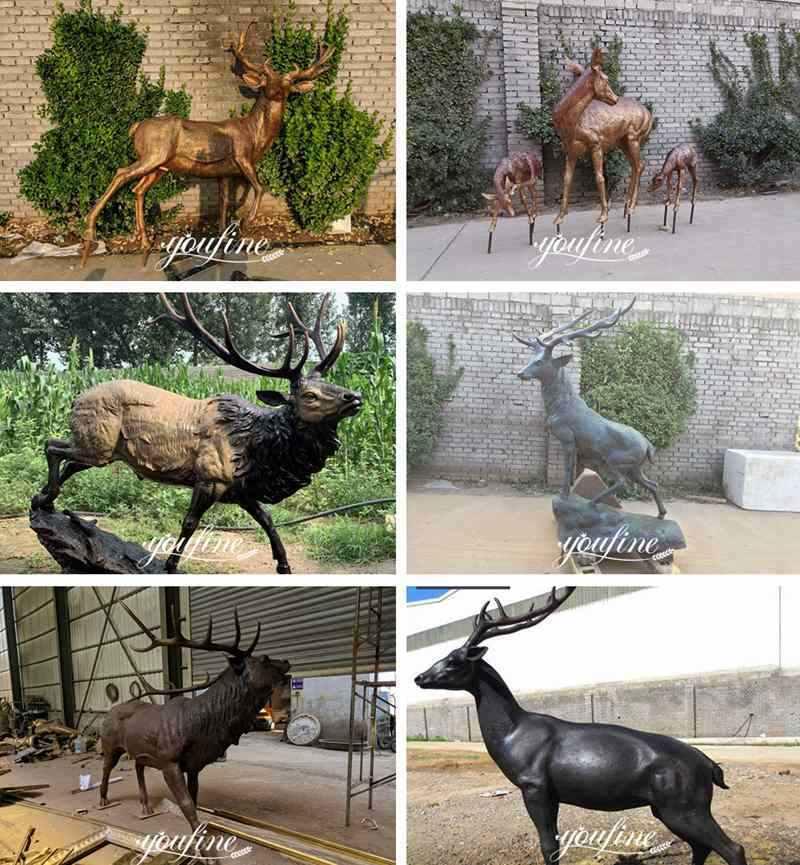 Outdoor Life Size Bronze Deer Garden Statue for Sale ASF-10 More Designs