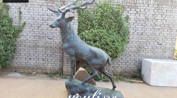Wholesale Metal Cast Bronze Life Size Elk Statue for Sale ASF-09 (4)