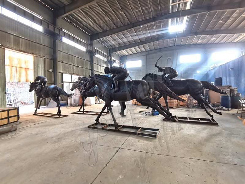 Large Antique Bronze Horse and Jockey Statues Racecourse for Sale ASF-11