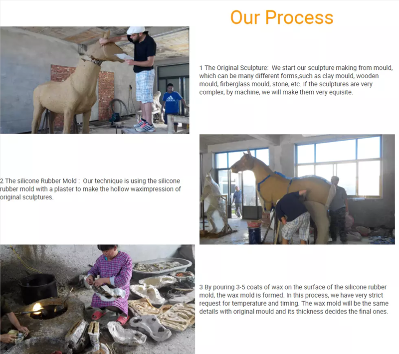 Large Bronze Horse Head Statue Farm Decor for Sale Production Process