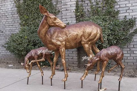 Life Size Bronze Deer Statues with Fawn Garden Statue for Sale BOK-220