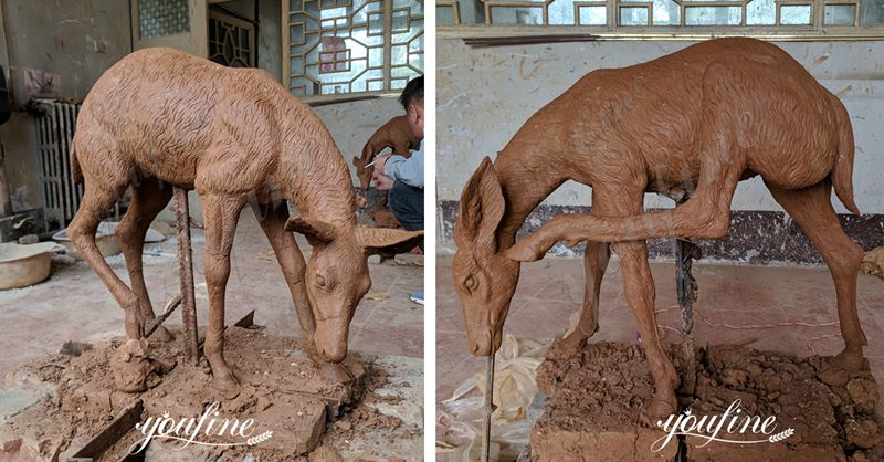 Life Size Bronze Deer Statues with Fawn Garden Statue for Sale BOK-220 Clay Molds