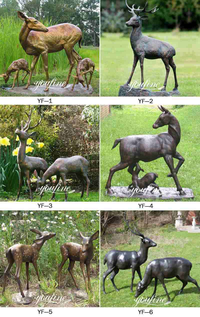 Life Size Bronze Deer Statues with Fawn Garden Statue for Sale BOK-220 More Designs