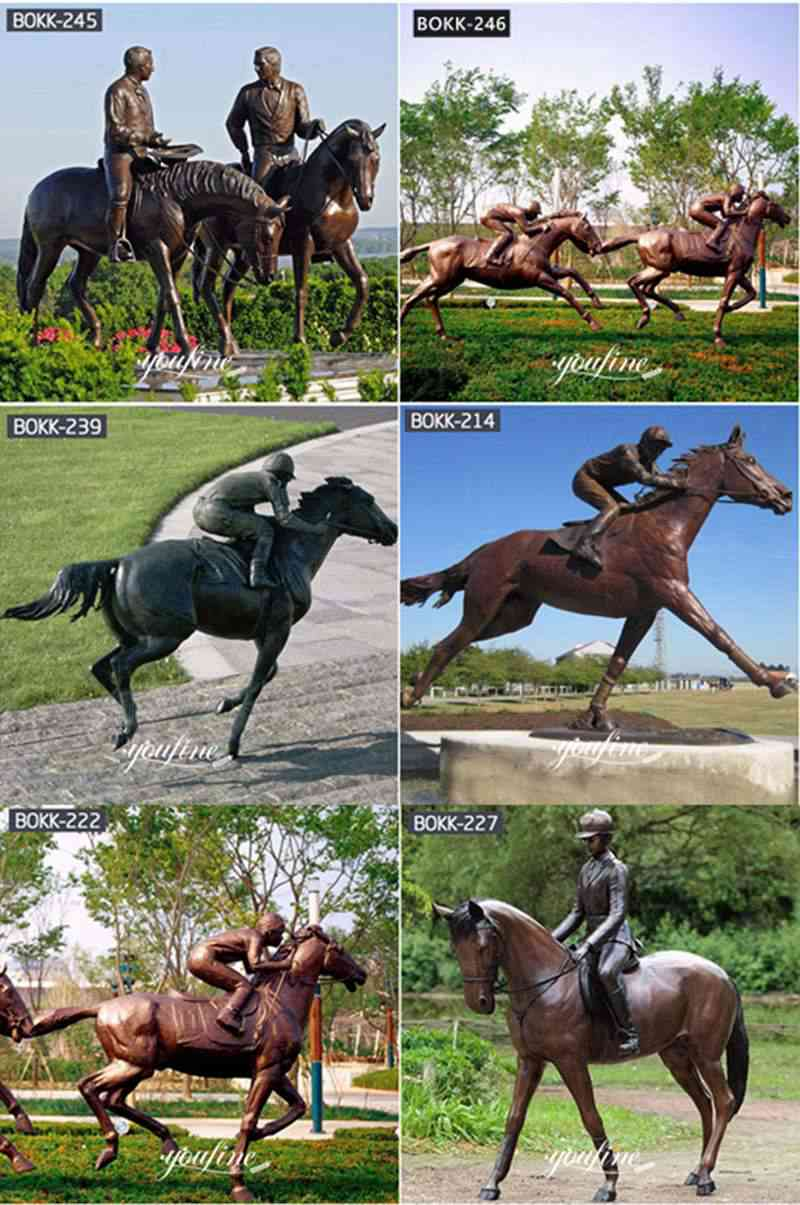 Life Size Bronze Horse and Rider Statue for Racecourse Decor