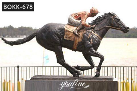 Life Size Bronze Horse and Rider Statue for Racecourse Decor BOKK-678