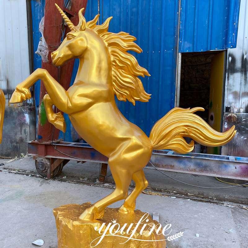 Outdoor Metal Golden Bronze Rearing Horse Statue for Sale