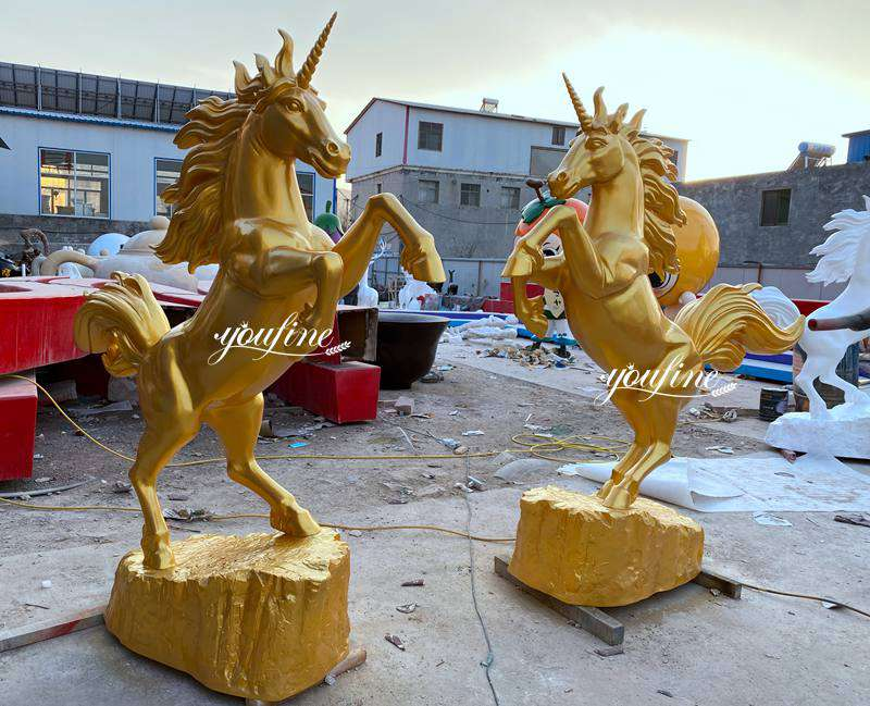 Outdoor Metal Golden Bronze Rearing Horse Statue for Sale ASF-12 Details