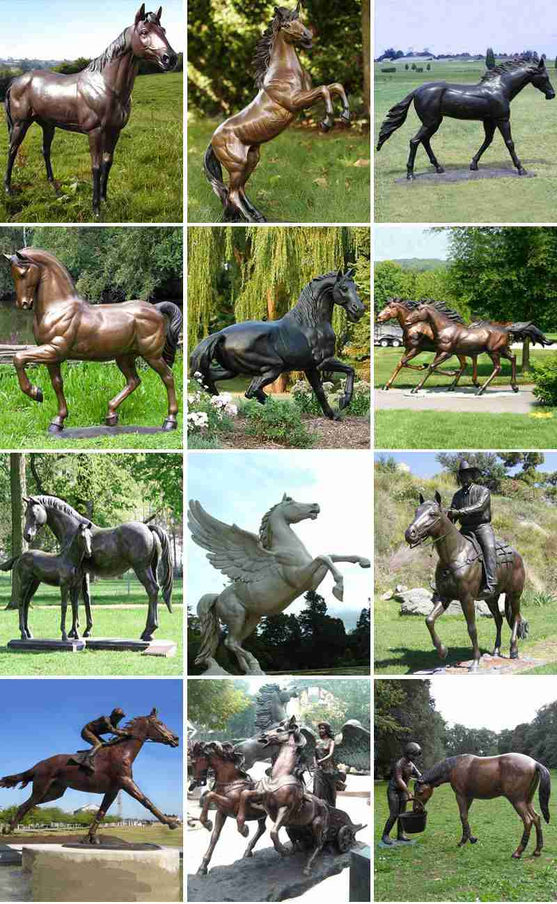 Outdoor Metal Golden Bronze Rearing Horse Statue for Sale ASF-12 More Designs