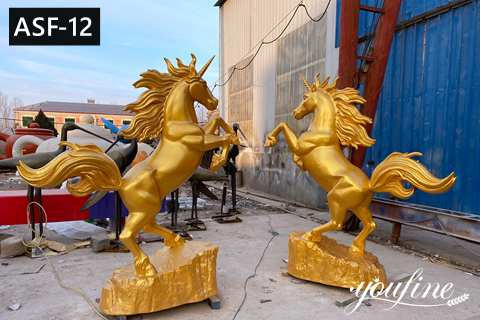 Outdoor Metal Golden Bronze Rearing Horse Statue for Sale ASF-12
