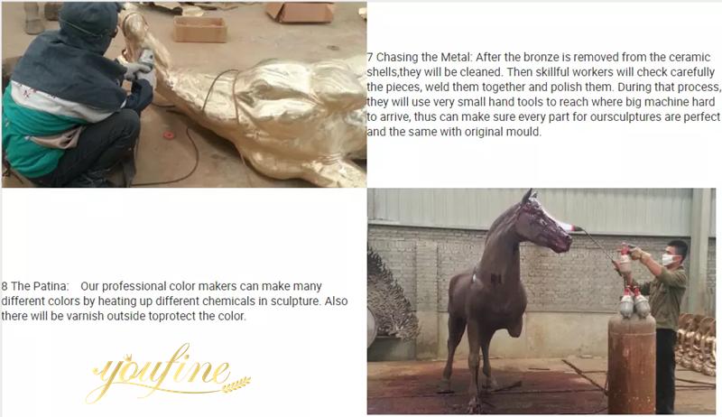 Racecourse Decorative Large Bronze Horse Statues for Sale Production Process
