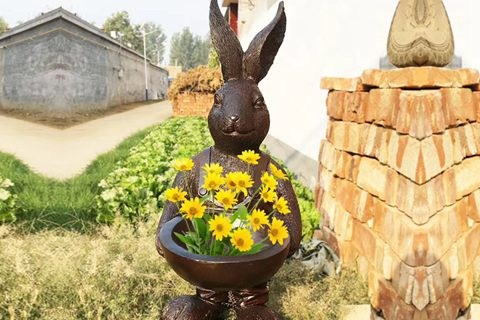 Bunny Flower Pot Bronze Rabbit Garden Statue for Sale