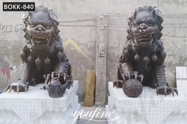 Life Size Antique Chinese Foo Dogs Bronze Statue for Sale BOKK-840
