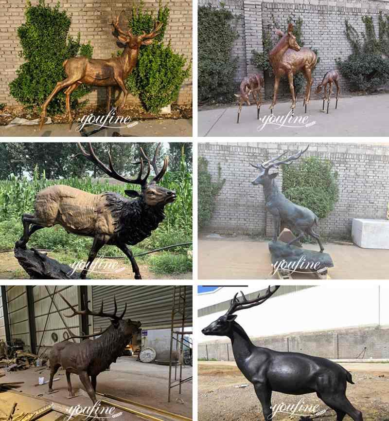 Outdoor Giant Elk Statue Bronze Garden Deer for Sale