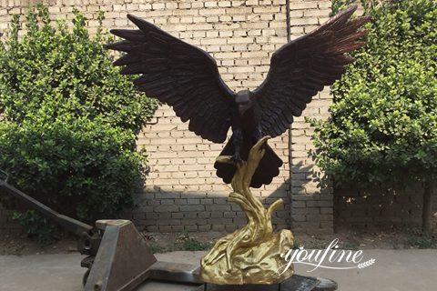 Large Antique Bronze Eagle Statues on Branch for Sale