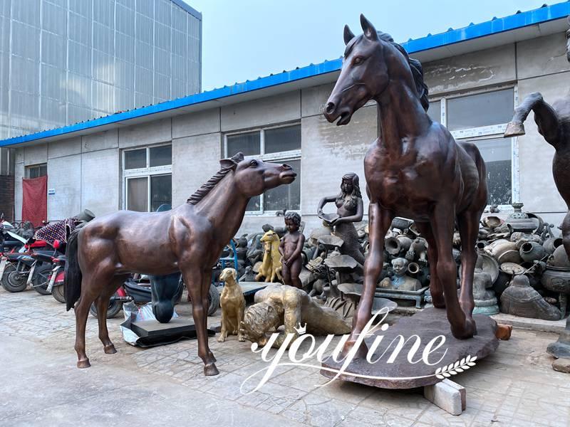 Large Antique Bronze Horse Statues Farm Racecourse Decor in Stock