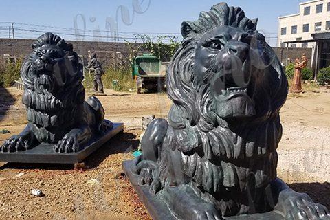 Large Antique Bronze Lion Statue Front Porch Decor for Sale