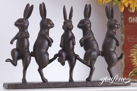 Life Size Bronze Dancing Rabbit Sculpture Wholesale
